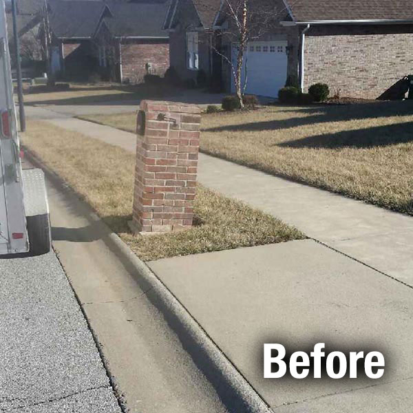 Cleveland—East Brick Mailbox Leveling - Before